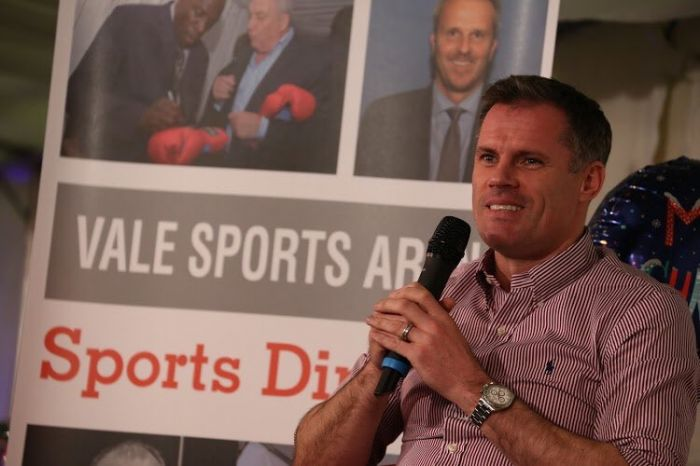 Jamie Carragher entertains guests at Christmas Sporting Dinner