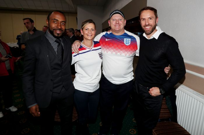 Darius Vassell joins England Manager Gareth Southgate at fans event