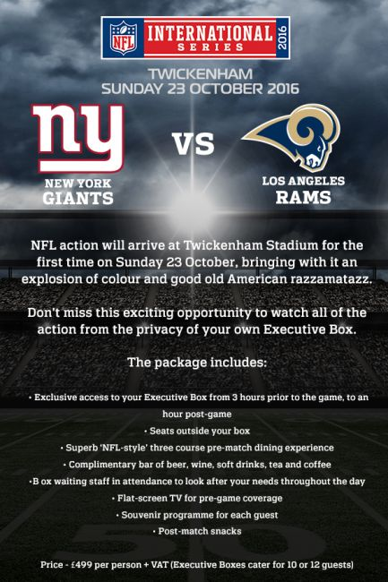 NFL @ Twickenham VIP Executive Box Hospitaliy